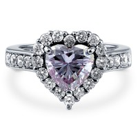 Sterling Silver Purple Cubic Zirconia CZ Halo Heart Ring 2.43 ct.twBe the first to write a reviewSKU# R976-06