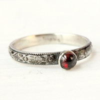 Garnet ring, January Birthstone ring, stacking mothers ring, vintage style, sterling silver ring, red gemstone, stackable ring, floral band