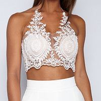 White Halter Lace Zip Back Crop Bralette Top