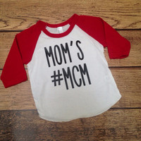 Mom's #MCM Red Raglan Baby Shirt, Baby Boy Shirt