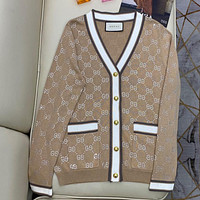 GUCCI GG Multicolor Knitted Double Sweater Cardigan