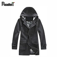 Male winter clothes wool & nylon blended long trench coat Men fashion parka windbreaker suit Mens brand casual hooded jacket