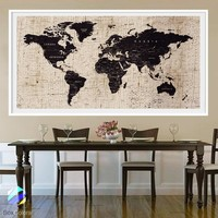 XL Poster Push Pin World Map travel Art Print Photo Paper texture canvas Wall Decor Home  (frame is not included) (P30) FREE Shipping USA!
