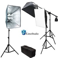 LimoStudio Photo Video Studio 2400 Watt Softbox Continuous Light Kit with Overhead Head Light Boom Kit, 2 x Softbox Light Kit, 1 x Softbox Light Kit on Boom Kit, All Light Boxes Come with 4 x 45 Watt 6500K CFL Total 12 Bulbs, Carrying Case, AGG891
