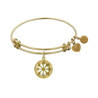 Non-Antique  Stipple Finish Brass With Enamel Daisy Flower Angelica Bangle, 7.25 Inches Adjustable