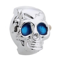Alloy Quartz Movement Finger Ring Watch Skull Cover with Blue Eyes Fashion