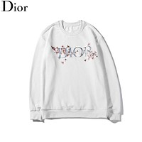 Dior 2019 new floral letter LOGO printed hooded sweater white