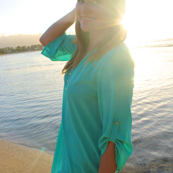 Working Girl Top in Mint