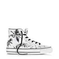 Converse Limited Edition Designer Shoes Star Player Ev High Top Optical White/Black Palms Printed Canvas and Leather Sneaker