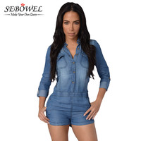 Country Way Long Sleeve Rompers  Jumpsuit    Denim Jumpsuit Shorts Playsuit Jeans Overalls SM6