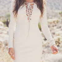 White Plunge Neck Lace Up Front Long Sleeve Bodycon Mini Dress