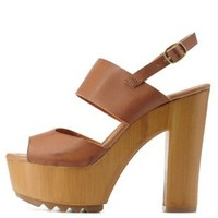 Cognac Chunky Wooden Platform Sandals by Charlotte Russe