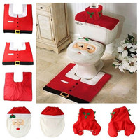 Christmas 2016 New Santa Claus Toilet Seat Cover and Rug Bathroom Set Christmas Decorations For Home