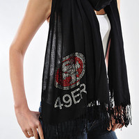San Francisco 49ers Rhinestone Pashmina Shawl - Beautiful 49ers Woman's Scarf