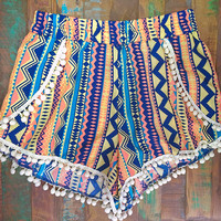 Peach Navy & Teal Aztec Pom Pom Shorts