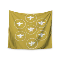 """Jennifer Rizzo """"Busy As A Bee Maise Gold"""" White Nature Wall Tapestry"""