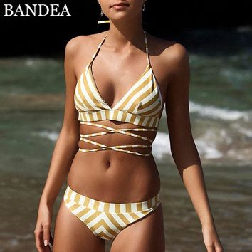 BANDEA Women Strappy Bikini Set Padded Push Up Swimwear Yellow Stripe Halter Top Swimsuit Beachwear Swim Bathing Suit