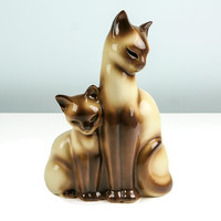 1950s TV Lamp Siamese Cat and Kitten / Vintage Mid Century Lighting / Cool Cats / Kron / Made in Texas / Accent Lamp / Mood Lighting