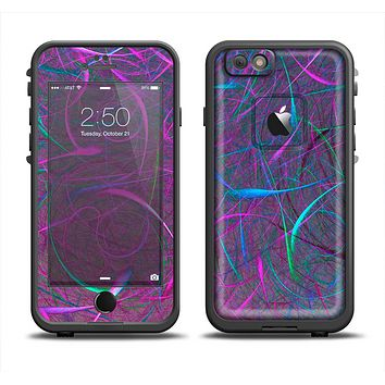 The Purple and Blue Electric Swirels Apple iPhone 6 LifeProof Fre Case Skin Set