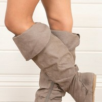 Bamboo Rebeca54n Taupe Folded Cuff Flat Knee Boots shop Boots at MakeMeChic.com