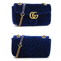 LV Louis vuitton GG popular women's one-shoulder bag is purple with fashionable corrugated velvet shopping bags Sapphire Bag