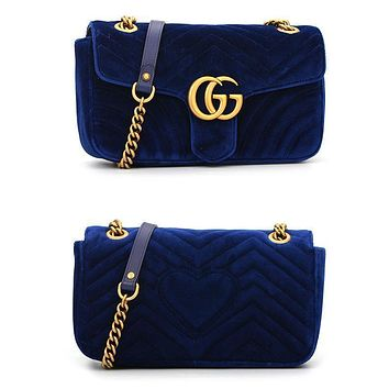 Dior GG popular women's one-shoulder bag is purple with fashionable corrugated velvet shopping bags Sapphire Blue
