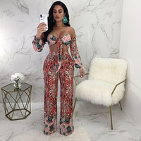 Bow Flower Print Strapless Long Sleeves Cami Top with High Waist Long Wide-leg Pants Two Pieces Set