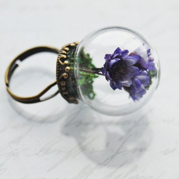 Real Flower Bouquet Ring Purple Blue Dried Flowers Green Moss Glass Dome Miniature Garden Unique OOAK