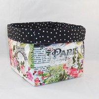 Paris Themed Fabric Basket For Storage Or Gift Giving