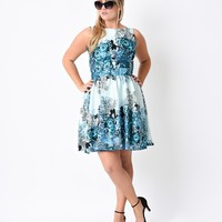Plus Size 1950s Retro Teal Rose Floral Collage Flared Tea Dress
