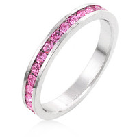 Stylish Stackables Pink Silver Ring