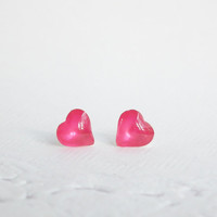 Tiny Jelly Pink Heart Silver Stud Earring 92.5% Sterling Silver, Cartilage Piecing Silver Post , Charm Kids Jewelry Bridesmaid Gift under 10
