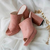 Suede Gladiator Sexy High Heels Slippers Slip On Sandals