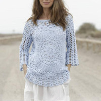 Summer top beach top Crochet tunic long sleeves boho sweater cotton yellow sweater lavender pink rapture rose sky blue sweater Drops Lilith