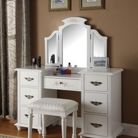 Torian 3 pc white finish wood make up dressing table vanity set with stool and tri-fold mirror