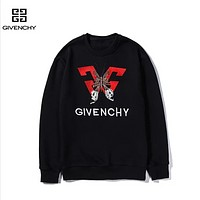Givenchy New fashion embroidery letter butterfly couple long sleeve top sweater Black