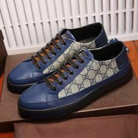 Beauty Ticks Gucci Men's Leather Fashion Casual Sneakers Shoes #503