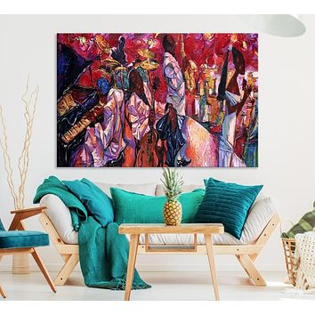 Extra Large Jazz Abstract Canvas Wall Art African American Art Print