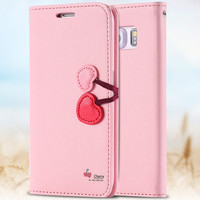 Lovely Cute Cherry Case For Samsung Galaxy S6 / S6 edge Leather Wallet  Girl Women Phone Cover Stand With Card Slot Wallet Bags