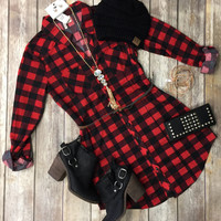 You Plaid me at Hello Belted Tunic: Red/Black