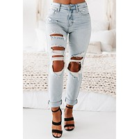 Colleen Distressed High Rise Mom Jeans (Newport Light)