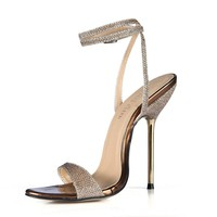 Sexy Snakeskin Ankle Strap Sandals 3 Colors Size 4 to 12
