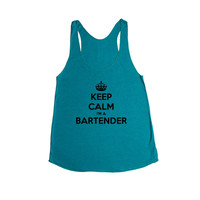 Keep Calm I'm A Bartender Bar Tending Job Jobs Alcohol Drinks Drinking Beer Vodka Parties Party Partying SGAL2 Women's Racerback Tank