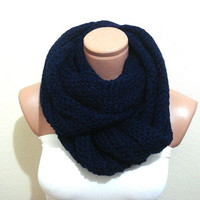 Mens scarf cowl infinity navy blue super soft scarf, neckwarmer loop scarf mens gifts under 50, fathers day gifts for men FREE SHIPPING