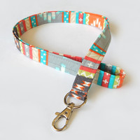 Tribal Print Lanyard / Aztec Indian Inspired / Boho Keychain / Bohemian / Key Lanyard / ID Badge Holder / Fabric Lanyard / Colorful Lanyard