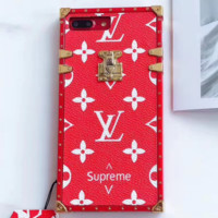 Red Louis Vuitton X Supreme Trunk Case