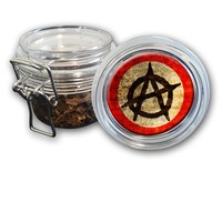 Airtight Stash Jar with Silicone Seal - Anarchy Symbol - Food-Grade Plastic with Locking Wire Top - Smell Proof Hermes Container