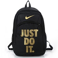 NIKE JUST DO IT Tide brand men and women sports outdoor travel backpack Black