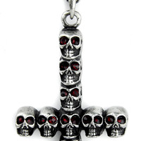 Inverted Skull Cross Necklace with Red Stone Eyes