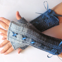 Corset Fingerless Gloves Mittens Blue Azure Arm Warmers Acrylic